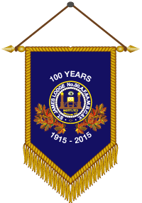 a graphic of the Commemorative Banner for St. James Lodge 100th year.